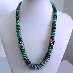 Bisbee Turquoise with Large Sterling Silver Beads
